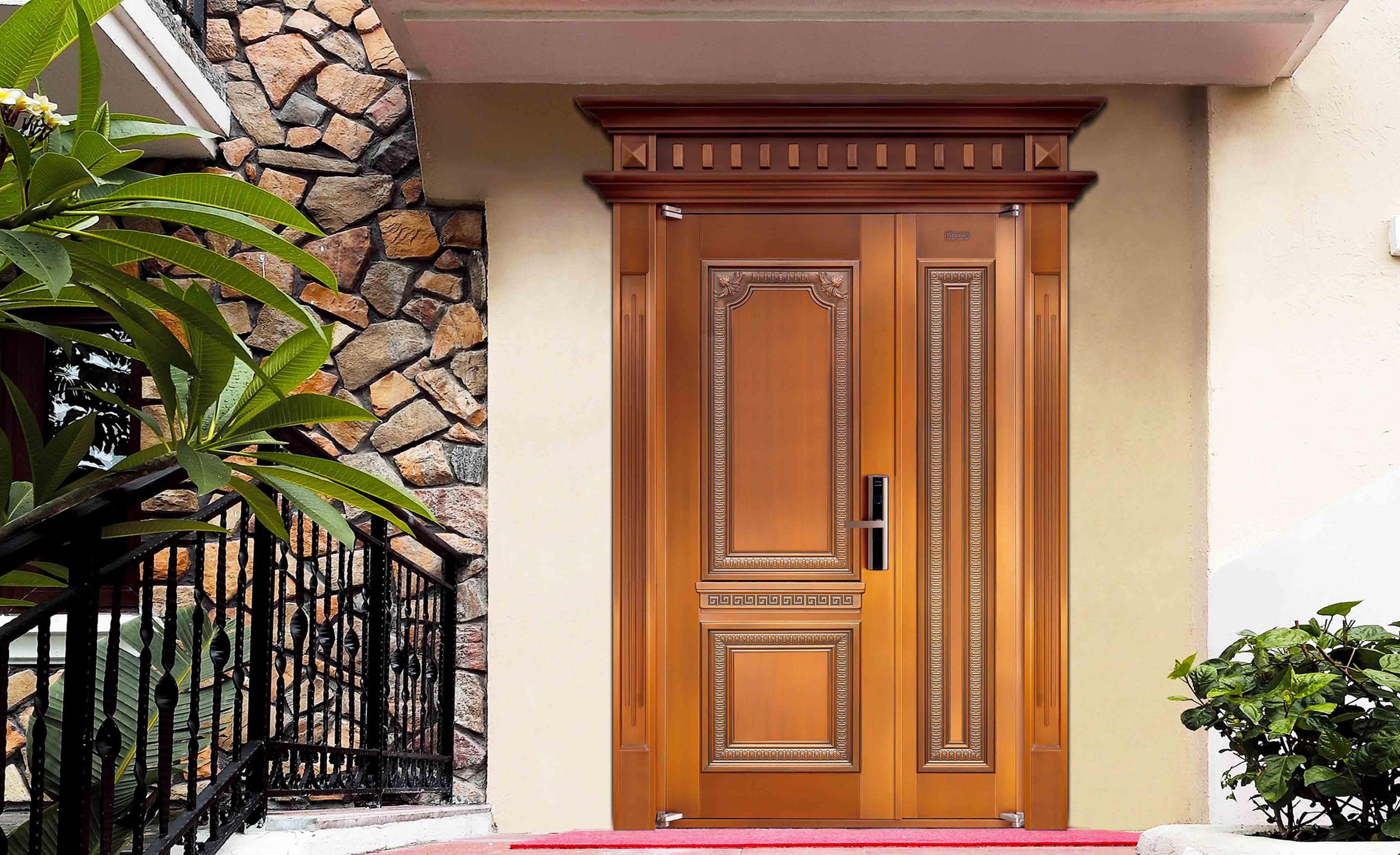 M015云都新苑,子母铜门,铜门子母门,室外门