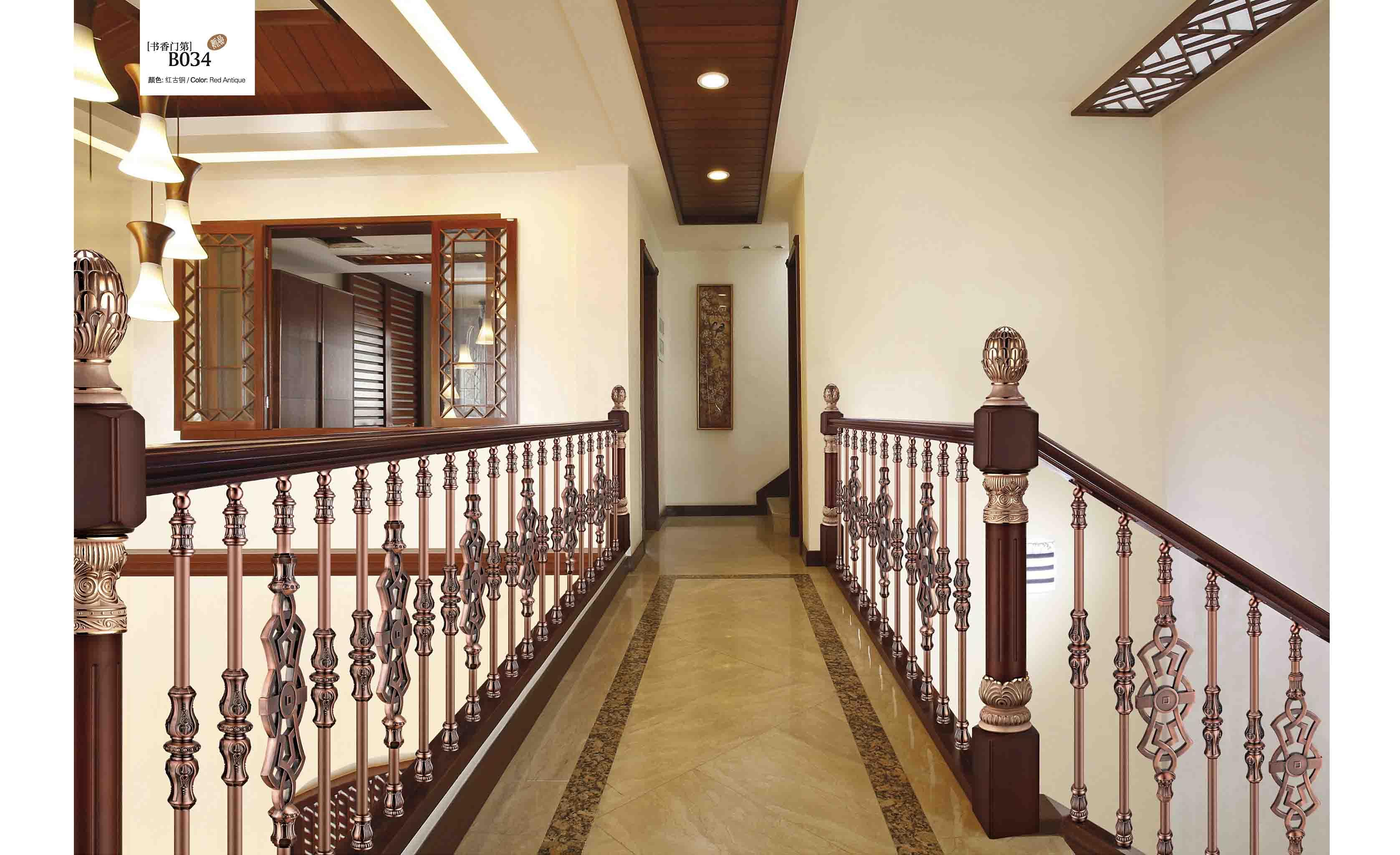 銅扶手|銅護欄|銅藝樓梯|別墅樓梯護欄|b034書香門第