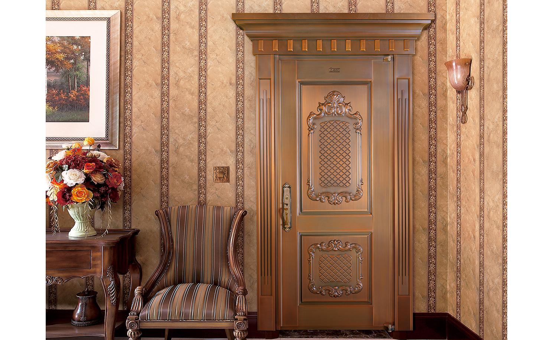 H019书香门第,真铜门,单开铜门,单扇铜门
