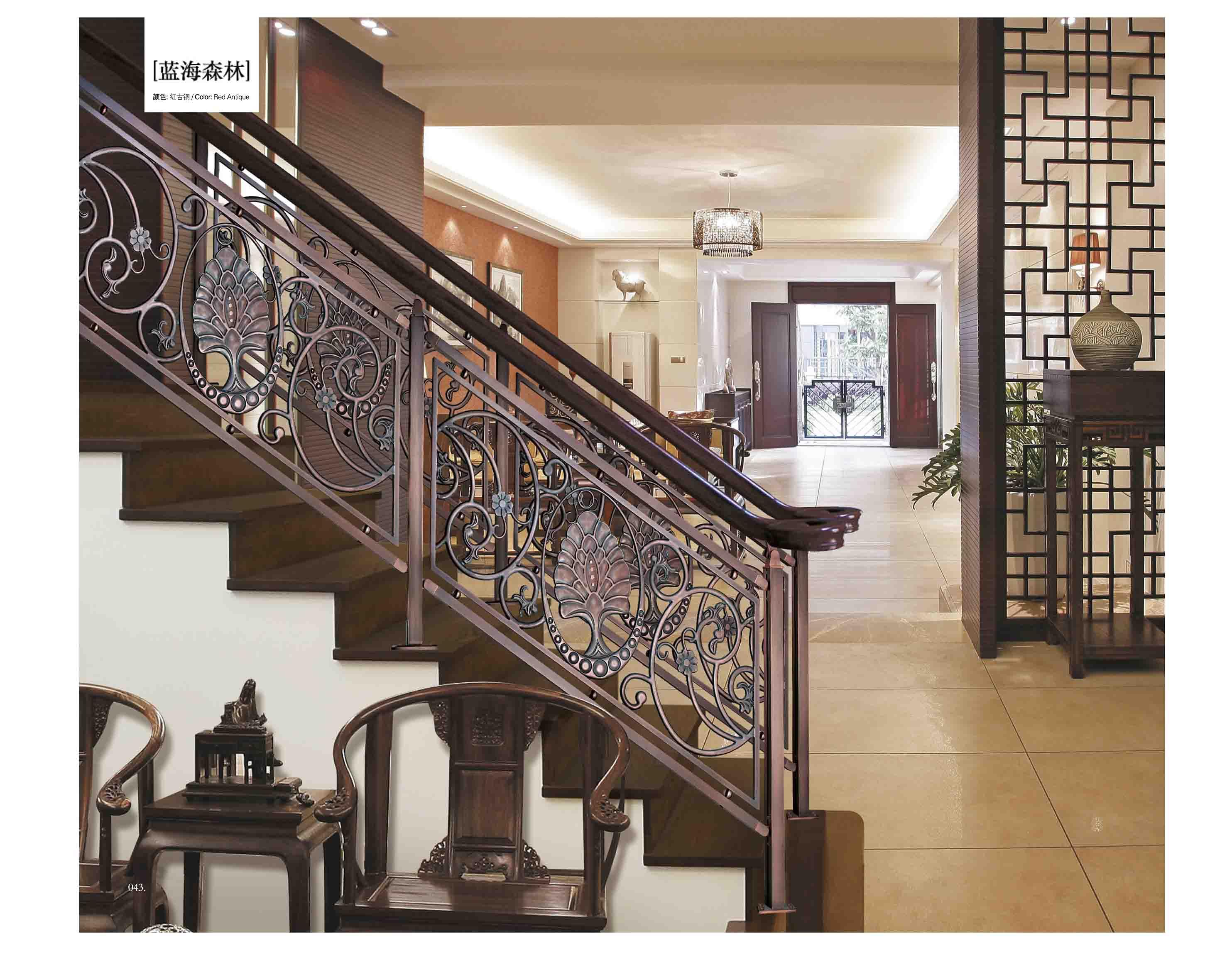 FLB014蓝海森林/楼梯护栏/铜艺楼梯/复式豪宅楼梯护栏