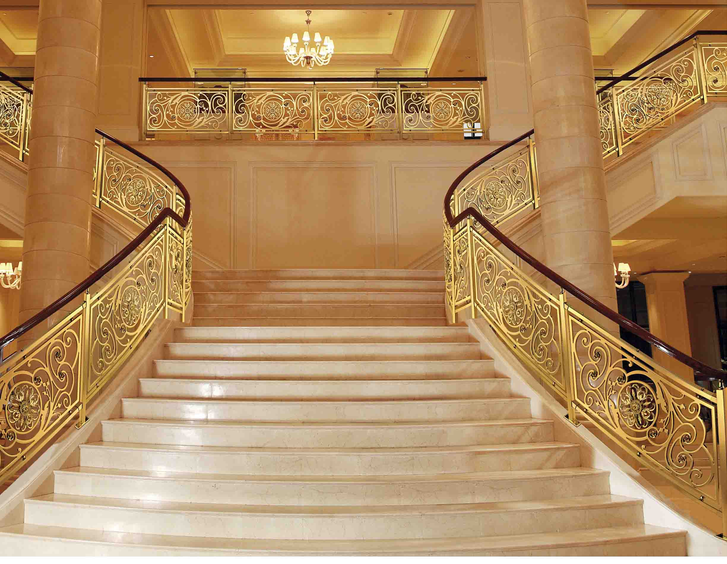 A026名流府邸/铜扶手/铜护栏/铜艺楼梯/酒店楼梯护栏